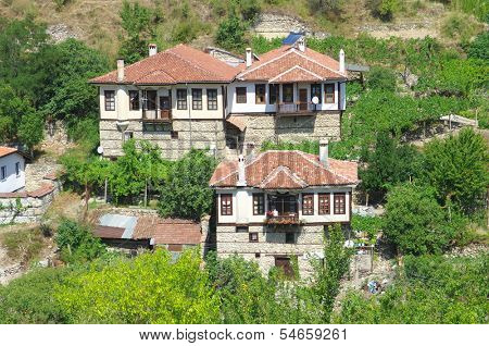 view Melnik village and Revival traditional architecture, Bulgaria