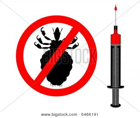 Prohibition Sign For Lice And Inoculation On White Background