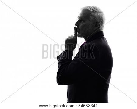 One Caucasian Senior Business Man hushing finger on lips Silhouette White Background