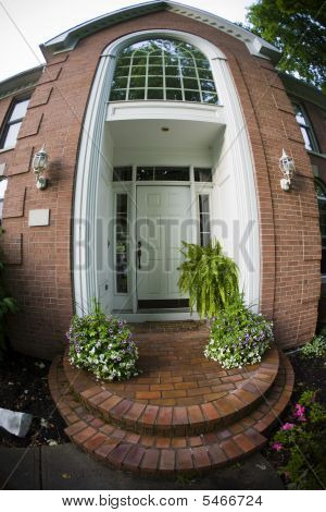 Front Of A Home With A Fisheye Lens