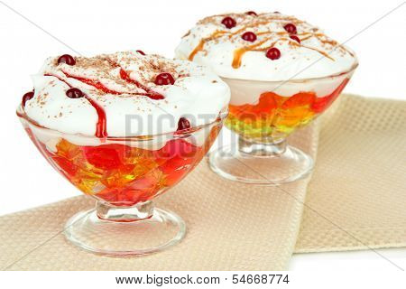 Tasty jelly on table on white background