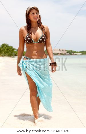 Bikini Woman Walking
