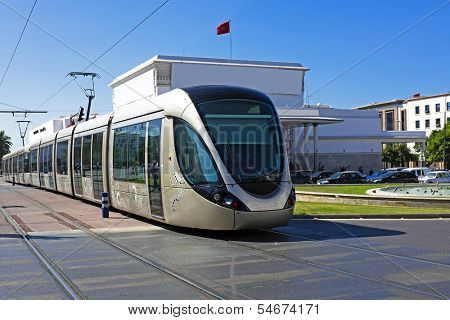 RABAT, MOROCCO - OCTOBER 15 2013: The Rabat tramway is a tram system which was put into service on May 23, 2011 in Rabat Morocco
