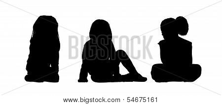Little Girls Seated Silhouettes Set 1