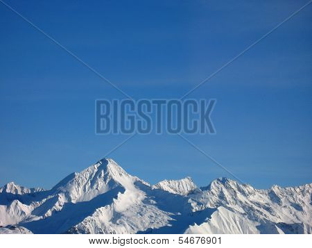 Mountain peaks in snow