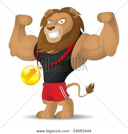 Lion athlete shows muscles