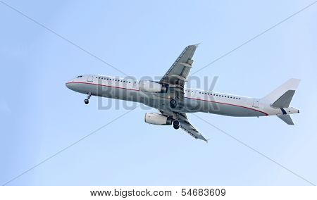 Passenger airplane during flight
