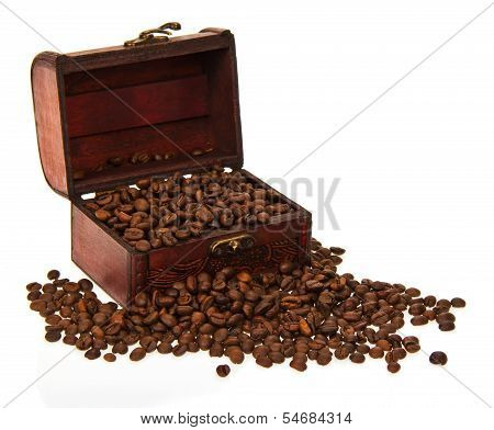 Chest with the coffee grains
