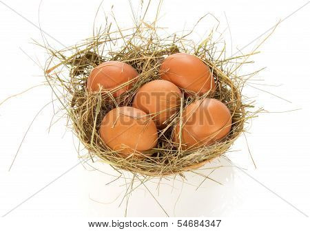 Eggs, hay in bast basket