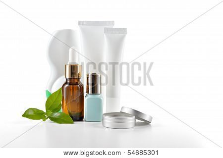 Daily Care Cosmetics On White Background.