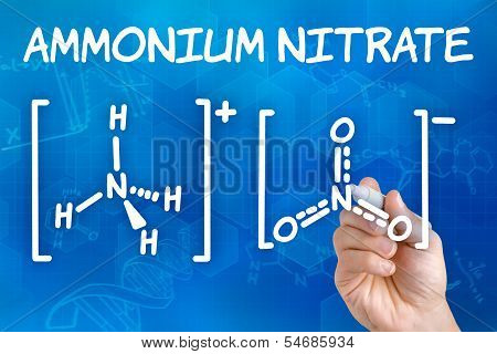 Hand with pen drawing the chemical formula of ammonium nitrate