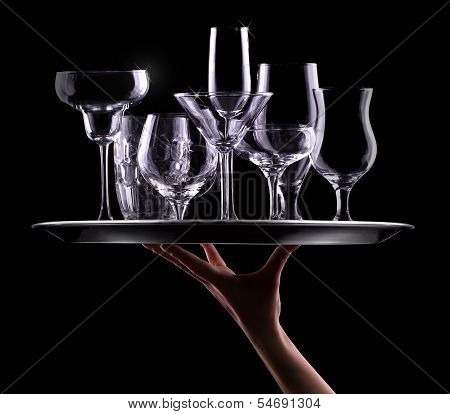 set with different empty stemware