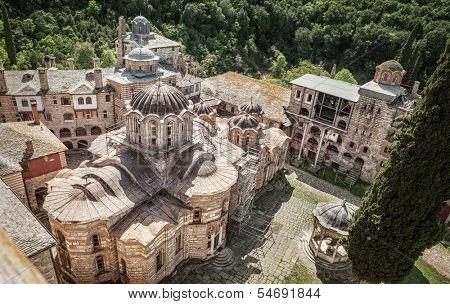 Christian Orthodox Monastery Hilandar. Holy Mount of Athos, Chalkidiki, Greece - republic of monks