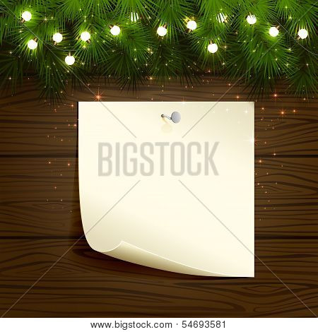 Light bulbs and paper on wooden background