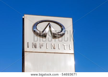 Samara, Russia - November 23: The Emblem Infiniti On Blue Sky Background, November 23, 2013 In Samar