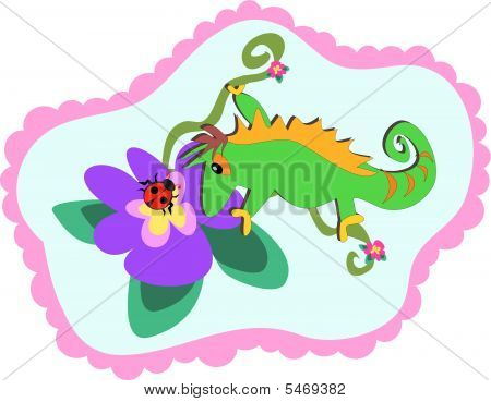 Chameleon and Flower Frame