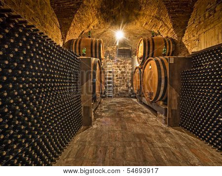 wine bottles and barrels