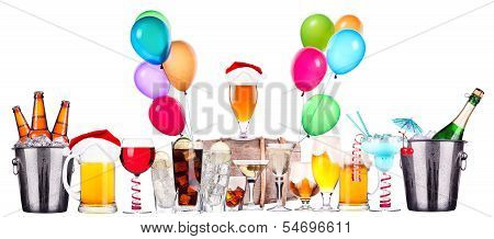 different images of alcohol with balloons