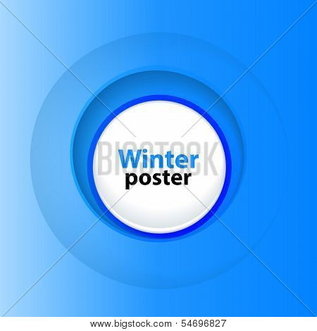 Winter round blue template