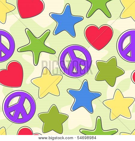 background of the figures of stars pacifist heart bright colors with retreating outline.