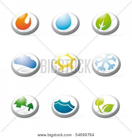 Collection of nine three-dimensional circular icons related to nature, weather, energy and environmental issues