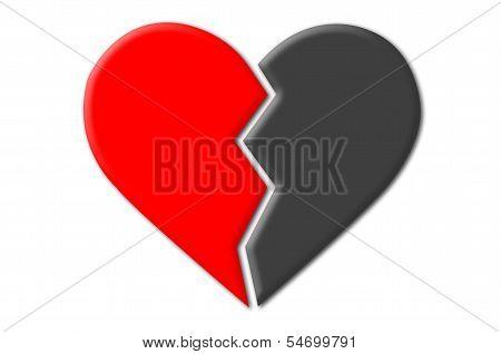 Black and Red Broken Heart
