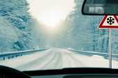 stock photo of snowy-road  - driving in winter  - JPG