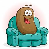 stock photo of couch potato  - A smiling happy couch potato cartoon character sitting on the couch - JPG