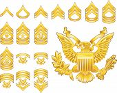 stock photo of sergeant major  - Set of military american army enlisted rank insignia icons - JPG