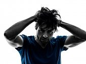 stock photo of hangover  - one caucasian stubble man headache hangover despair on white background silhouette - JPG