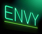 stock photo of envy  - Illustration depicting an illuminated neon sign with an envy concept - JPG