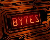 pic of byte  - Abstract style illustration depicting printed circuit board components with a byte concept - JPG