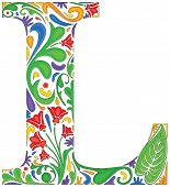 picture of initials  - Colorful floral initial capital letter L  - JPG