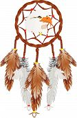 picture of dreamcatcher  - Illustration of a Dreamcatcher with an eagles head and eagle and owl feathers over white - JPG