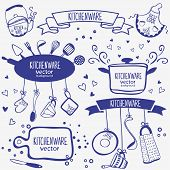 stock photo of saucepan  - design silhouette of kitchenware doodles collection - JPG