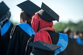 stock photo of rear-end  - Behind view of muslim woman on a graduating ceremony - JPG