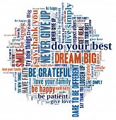 foto of give thanks  - Dream Big and other positive words in word collage - JPG