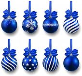 Blue christmas balls on gift bows. Set of isolated realistic decorations. Vector illustration.