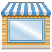 stock photo of awning  - Cute shop icon with blue awnings - JPG