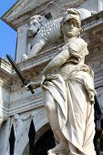 foto of arsenal  - statue in front of gates of the Arsenal Venice - JPG