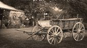 stock photo of olden days  - wagon in the garden - JPG