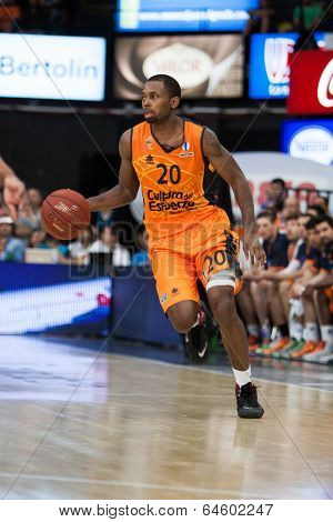 VALENCIA - MAY, 1: Lafayette drives the ball during a Eurocup Finals match between Valencia Basket Club and Unics Kazan at the Fonteta Stadium on May 1, 2014 in Valencia, Spain