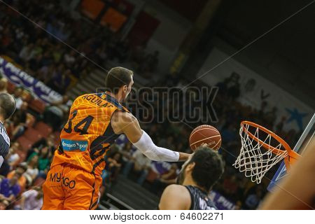 VALENCIA - MAY, 3: Lay-up of Aguilar during a Spanish league match between Valencia Basket Club and Bilbao at the Fonteta Stadium on May 3, 2014 in Valencia, Spain