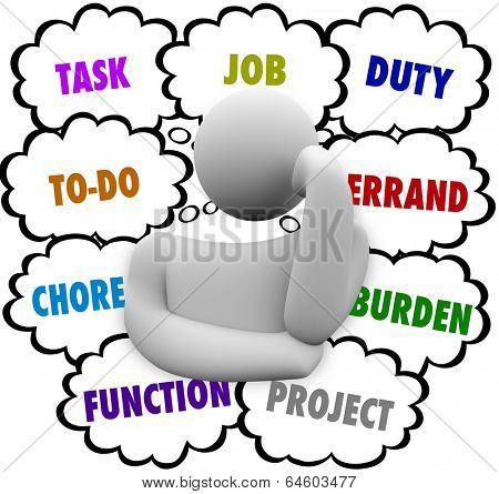 Task Job Duty Chore To-Do List Thinker Thought Clouds