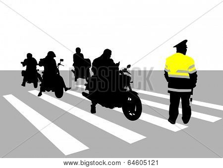 Traffic police officer and group of motorcycles