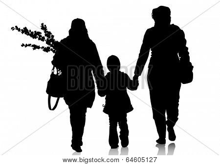 Mother with little child on white background