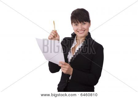Business Woman With Document And Pen.