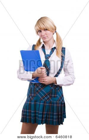 Senior High Schoolgirl In Uniform With Files