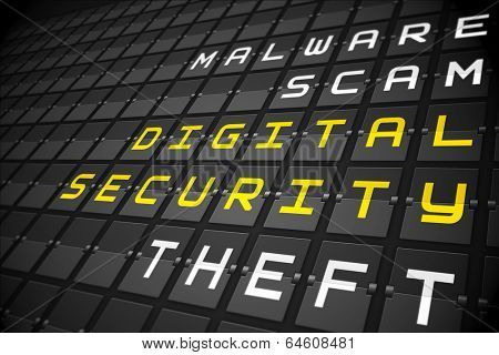 Digital security buzzwords on digitally generated black mechanical board