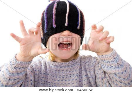 Child Hat Surprise Isolated White